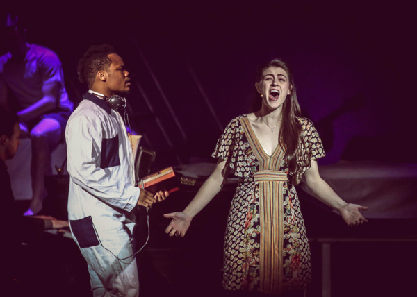 Kennen Butler (Man #1) and Charlene Koepf (Woman #1) in Songs For A New World.
