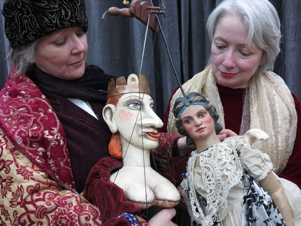 Michelle Beshaw with Queen puppet, Deborah Beshaw-Farrell with Princess puppet. Photo by Jonathan Slaff.
