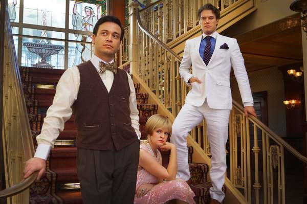 Buddy Haardt as Nick Carraway, Kathryn Miller as Daisy Buchanan, and Matthew Goodrich as Jay Gatsby star in Orlando Shakespeare Theater's production of The Great Gatsby. Photo by Luke Evans taken at The Ballroom at Church Street.