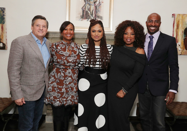 Ted Sarandos, Nicole Avant, Ava DuVernay, Oprah Winfrey and Van Jones