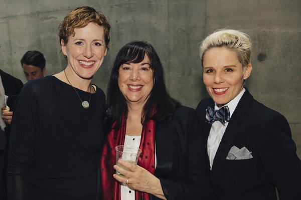 Sarah Jane Agnew (Sarah Weddington), playwright Lisa Loomer and Sara Bruner (Norma Mc Photo