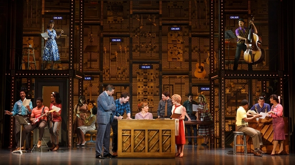 """1650 Broadway. (l to r) Curt Bouril (""""Don Kirshner�), Liam Tobin (""""Gerry Goffin�), Julia Knitel (""""Carole King�), Ben Fankhauser (""""Barry Mann�), Erika Olson (""""Cynthia Weil�) and the Company of Beautiful."""