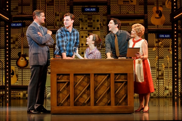 "Four Friends. (l to r) Curt Bouril (�""Don Kirshner""), Liam Tobin (�""Gerry Goffin""), Julia Knitel (�""Carole King""), Ben Fankhauser (�""Barry Mann"") and Erika Olson (�""Cynthia Weil"")."