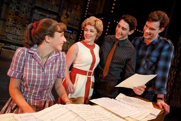 "Four Friends. Julia Knitel (""Carole King�), Erika Olson (""Cynthia Weil�), Ben Fankhauser (""Barry Mann�) and Liam Tobin (""Gerry Goffin�)"