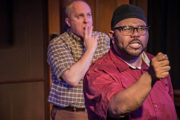 (left to right) Jeff Priskorn, Jonathan Jones in Popcorn Falls at Theatre NOVA