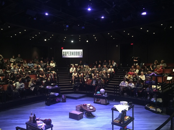 "The set of ""Supermarket of Lost"" in the round at The Sheryl and Harvey White Theatre at the Old Globe San Diego, California. Courtesy of Cassandra Hsiao"