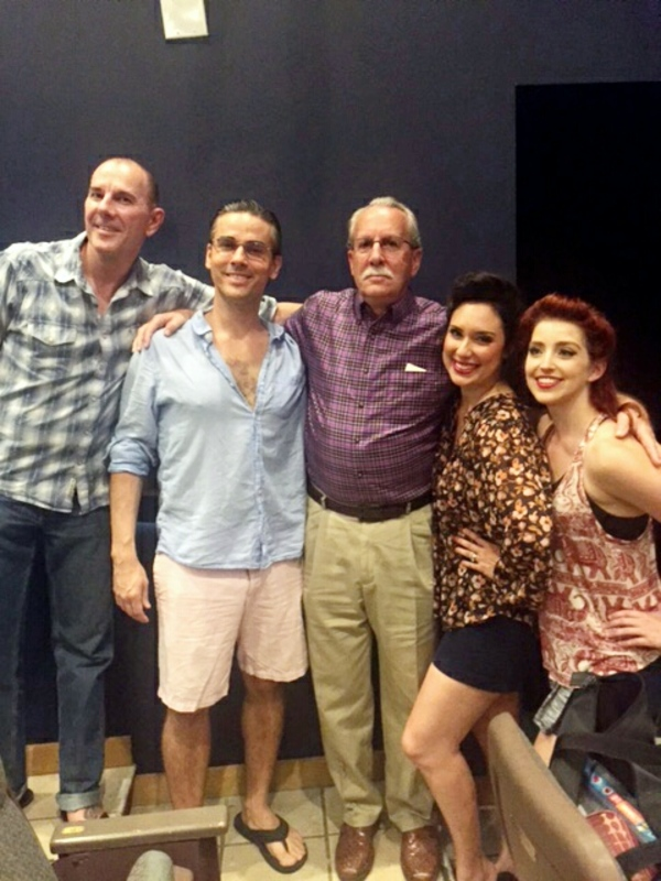 Actors Shawn Sears, Charlie Logan, Megan Jimenez and Brittany Halen with George M. Cohan III