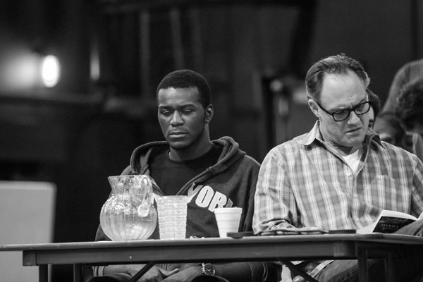 To Kill a Mockingbird Rehearsal  (L to R) Andrew Carson (Tom Robinson), Jason Douglas (Atticus Finch) Photo Credit: Jeff McMorrough