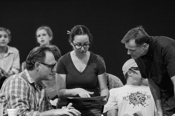To Kill a Mockingbird Rehearsal  (Seated, left) Jason Douglas (Atticus Finch), (Standing, L to R) Hannah Smith (Stage Manager), Chip Simmons (Mr. Gilmer) Photo Credit: Jeff McMorrough