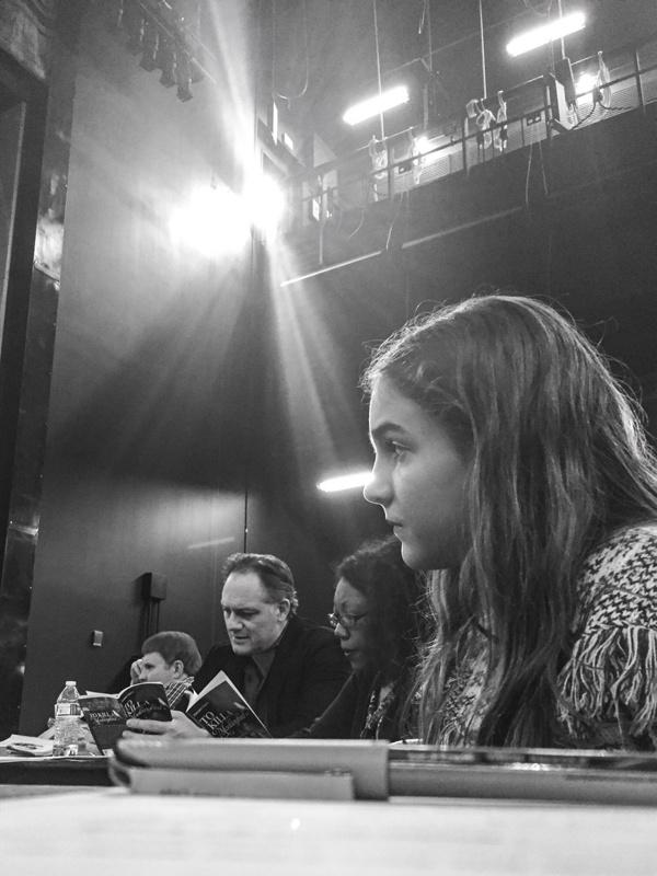 To Kill a Mockingbird Rehearsal  (L to R) Kevin Dean (Director), Jason Douglas (Atticus Finch), Callina Situka (Calpurnia), Jemma Kosanke (Jean Louise Finch) Photo Credit: Jeff McMorrough