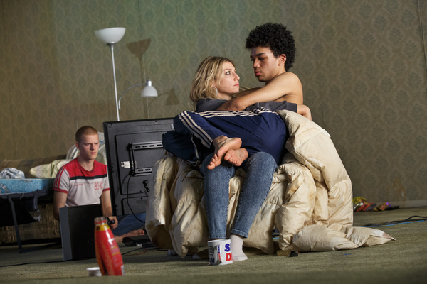 Lucas Hedges, Ari Graynor, and Justice Smith
