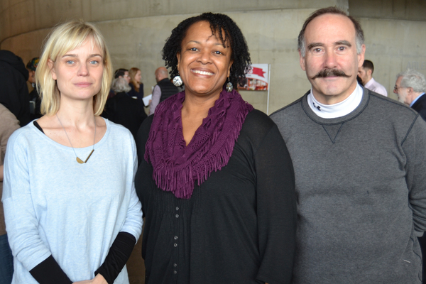 (L to R) Hannah Yelland (Valerie Plame), Aakhu TuahNera Freeman (Elaine) and Lawrence Redmond (Joseph Wilson) at the first rehearsal of Intelligence, running February 24-April 9, 2017 at Arena Stage at the Mead Center for American Theater. Photo courtesy