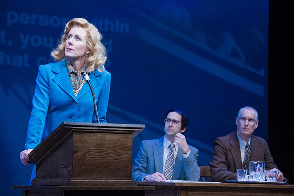 (L to R) Sarah Jane Agnew (as Sarah Weddington), Mark Bedard and Jim Abele in Roe at Arena Stage at the Mead Center for American Theater, running January 12-February 19, 2017. Photo by C. Stanley Photography.