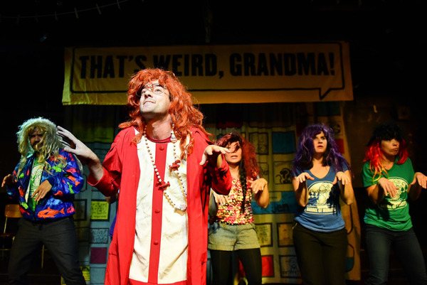 "(left to right) Barrel of Monkeys company members Brandon Cloyd, Nick Hart, Deanna Myers, Mary Tilden and Elisa Carlson perform �""The Ten Diamonds and Sisters"" in THAT'S WEIRD, GRANDMA. Photo by Evan Hanover."