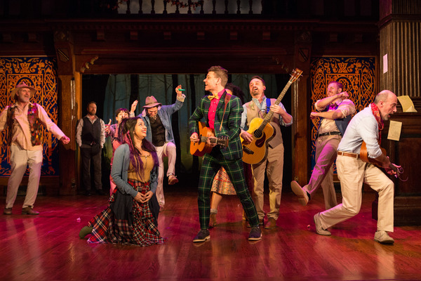The cast of Folger Theatre''s production of Shakespeare''s AS YOU LIKE IT in exuberant song.
