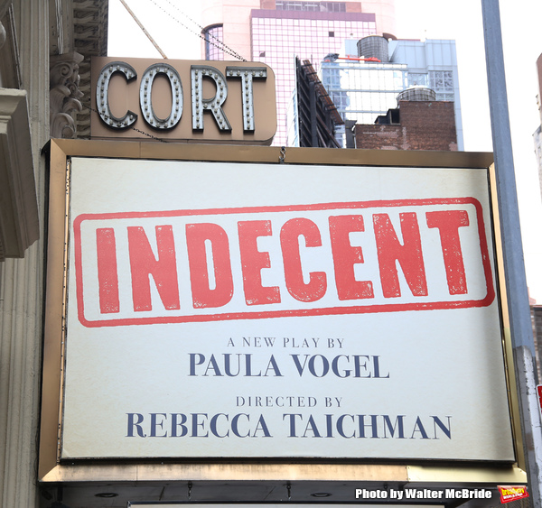"Theatre Marquee unveiling for ""Indecent"", a new play from Pulitzer Prize winner Paula Vogel at the Cort Theatre on January 27, 2017 in New York City."