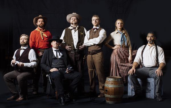 Chris Berger (seated) as Narrator, Riley, Thomas (seated), Christopher Scott as Marshal Johnson,  Stessman, Sydney Readman as Hallie Jackson and Chad Cunningham (seated) as Jim Mosten