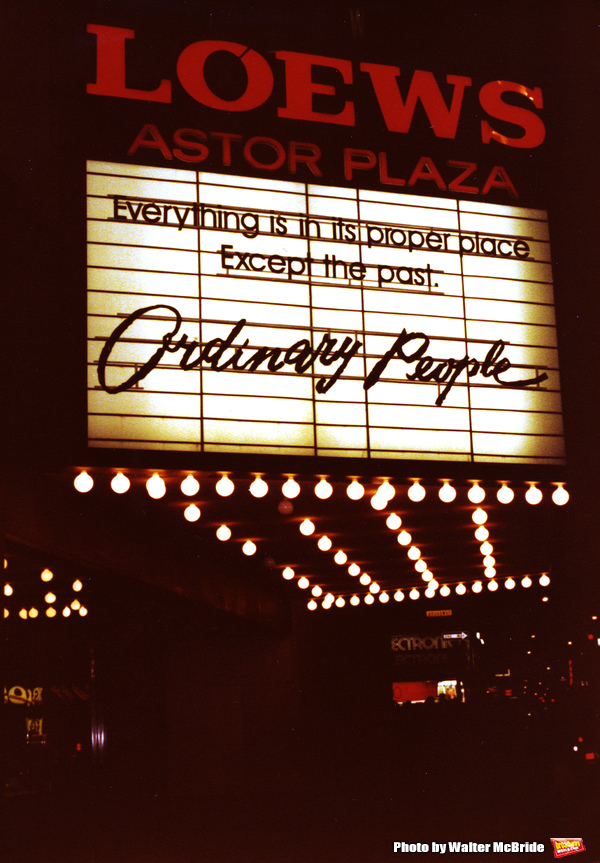 'Ordinary People' starring Mary Tyler Moore, Donald Sutherland and Timothy Hutton, Lowes Astor Plaza Theatre Marquee on December 1, 1980 in New York City.