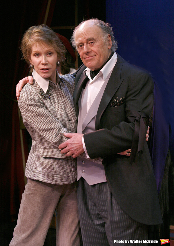 """***EXCLUSIVE COVERAGE*** Mary Tyler Moore visits the cast of """"Enter Laughing"""" at the York Theatre Company in New York City. February 26, 2009 pictured: Mary Tyler Moore & Bob Dishy"""