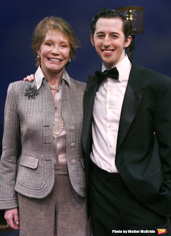 "***EXCLUSIVE COVERAGE*** Mary Tyler Moore visits the cast of ""Enter Laughing"" at the York Theatre Company in New York City. February 26, 2009 pictured: Mary Tyler Moore & Josh Grisetti"
