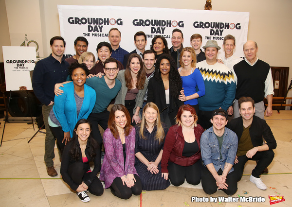 John Sanders, Andy Karl, Barrett Doss, and Rebecca Faulkenberry with the cast