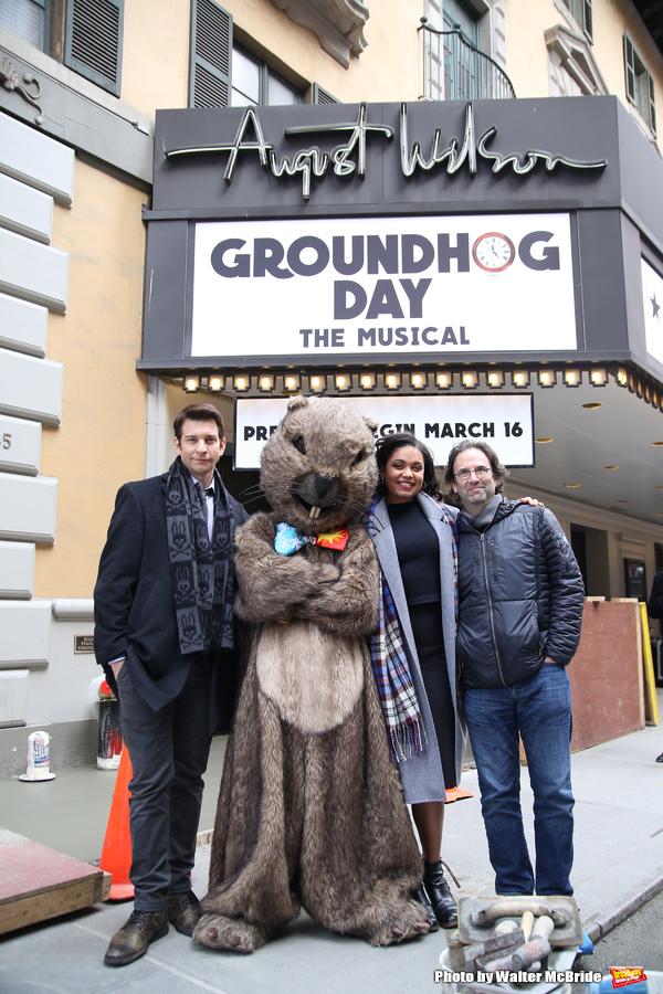 Andy Karl, Mr. Groundhog, Barrett Doss, and Danny Rubin