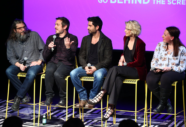 """ATLANTA, GA - FEBRUARY 03:  (L-R)  Writer David Guarascio, Co-creator, executive producer Patrick Osborne, actor Stephen Schneider, actress Jenna Elfman, and moderator Kim Roots, of TV Line,  speak on stage during Q&A for """"Imaginary Mary"""" on Day Two of aT"""