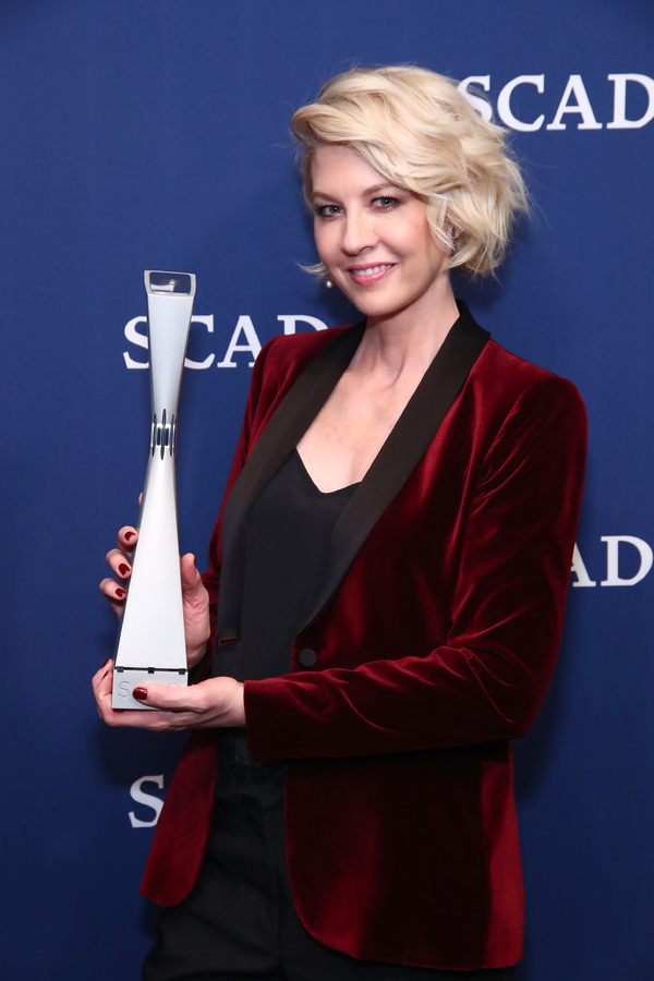 ATLANTA, GA - FEBRUARY 03:  Jenna Elfman poses with her Spotlight Award during Photo Opp on Day Two of aTVfest 2017 presented by SCAD at SCADshow Greenroom on February 3, 2017 in Atlanta, Georgia.  (Photo by Astrid Stawiarz/Getty Images for SCAD)