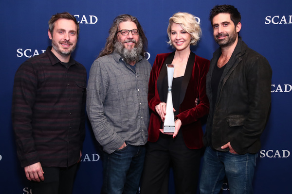 ATLANTA, GA - FEBRUARY 03: (L-R)  Co-creator, executive producer Patrick Osborne, Writer David Guarascio, actors Jenna Elfman and Stephen Schneider attend during Jenna Elfman's Spotlight Award Photo Opp on Day Two of aTVfest 2017 presented by SCAD at SCAD