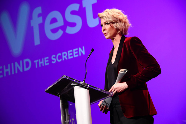 ATLANTA, GA - FEBRUARY 03:  Actress Jenna Elfman speaks at the 'Spotlight Award Presentation to Jenna Elfman' during Day Two of the aTVfest 2017 presented by SCAD at SCADshow on February 3, 2017 in Atlanta, Georgia.  (Photo by Astrid Stawiarz/Getty Images
