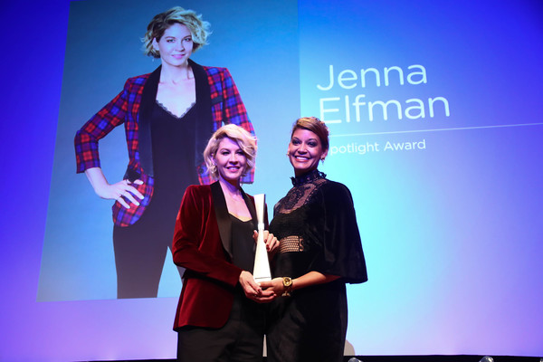 ATLANTA, GA - FEBRUARY 03:  Executive Director Audra Price-Pittman and Actress Jenna Elfman pose at the 'Spotlight Award Presentation to Jenna Elfman' during Day Two of the aTVfest 2017 presented by SCAD at SCADshow on February 3, 2017 in Atlanta, Georgia