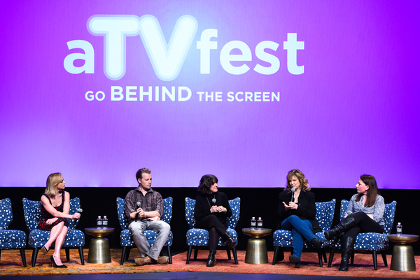 ATLANTA, GA - FEBRUARY 04:  Executive Producer Christina Ricci, Actor David Hoflin, Producer Nicole Yorkin, Producer & Writer Dawn Prestwich, and Moderator Kim Roots speak during a Q&A for 'Z' on Day Three of the aTVfest 2017 presented by SCAD at SCADshow