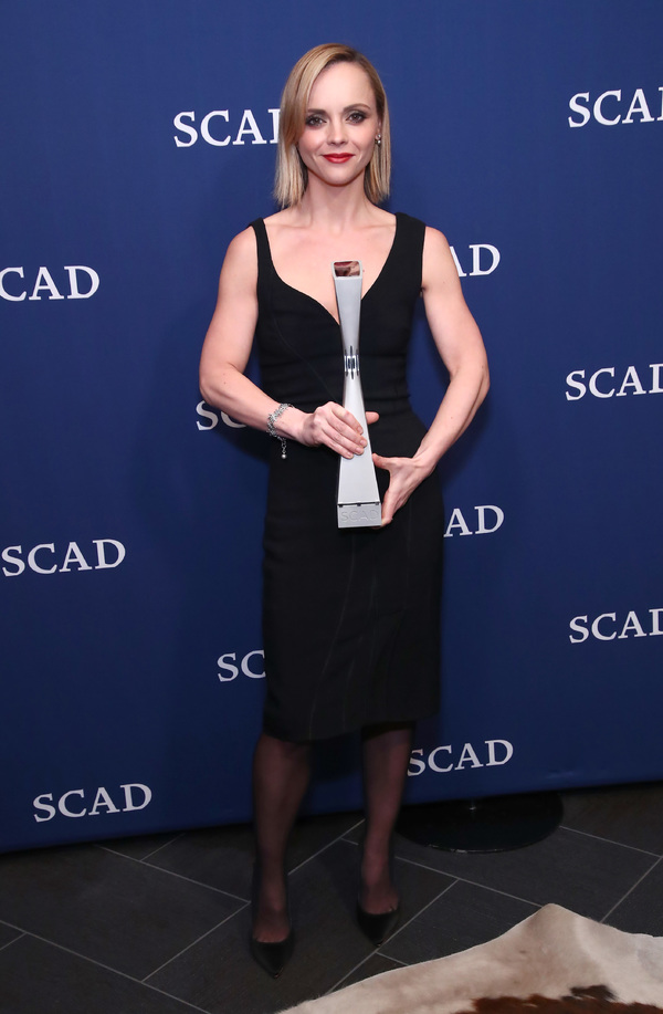 ATLANTA, GA - FEBRUARY 04:  Vanguard Award recipient actress Christina Ricci poses with her award during photo opp on Day Three of aTVfest 2017 presented by SCAD at SCADshow on February 4, 2017 in Atlanta, Georgia.  (Photo by Astrid Stawiarz/Getty Images