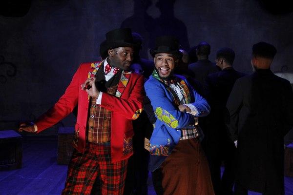 (L to R) Denzel Tsopnang as Mr. Bones and Mark J.P. Hood as Mr Tambo in Porchlight Music Theatre's The Scottsboro Boys