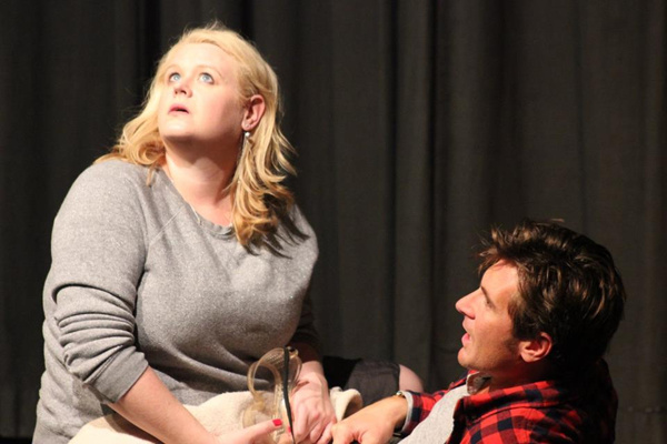 TIMING by Michael Weems   Desperate to conceive, Natalie devises a ridiculous scenario that can only end poorly.  l. to r. Laura Grayson and Chris Janousek
