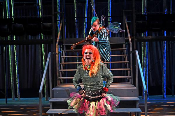 Front center: Rachael Warren as Puck, back center: Teddy Lytle as a fairy