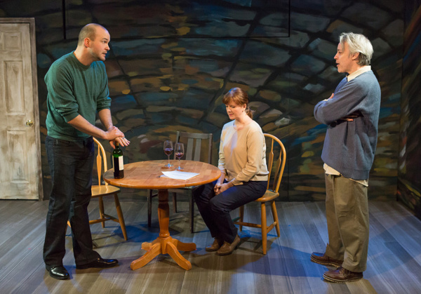 Lee Seymour , Nancy Nagrant & Richard Brundage in the 25th anniversary revival of Donald Margulies' SIGHT UNSEEN. Photo by Hunter Canning.