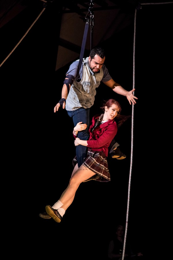 Edgar Ortiz and Kate Braland on aerial straps