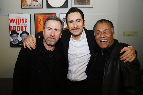 Actor Tim Roth with cast members Demian Bichir and Daniel Valdez