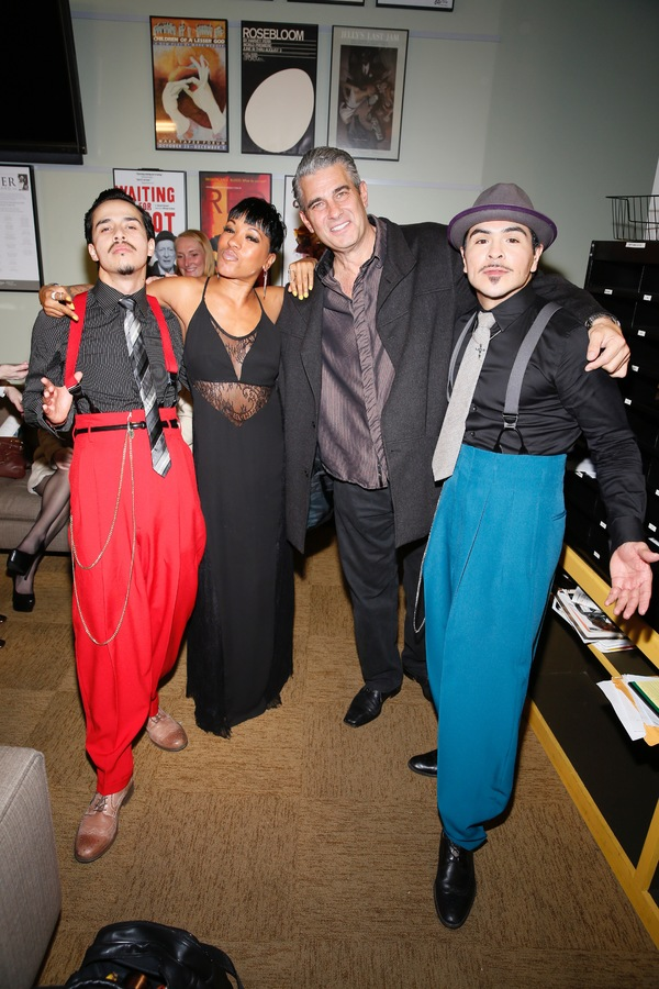 Cast member Michael Naydoe Pinedo, assistant choreographer Reina Hidalgo and cast members Richard Steinmetz and Gilbert Saldivar
