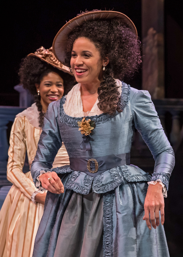 "The king's plan is put to the test by the arrival of the winsome Princess of France (Jennie Greenberry) and her gentlewomen (at back, Jennifer Latimore)â€""and the ensuing hysterical misadventures in Chicago Shakespeare Theater's production of Love's"