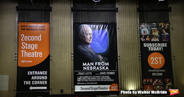 Theatre Marquee for the Off-Broadway Opening Night performance of 'Man From Nebraska' at the Second StageTheatre on February 15, 2017 in New York City.