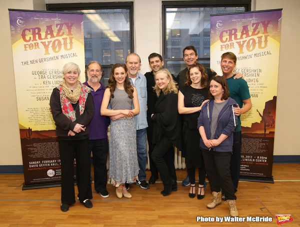 Nancy Opel, Mark Linn-Baker, Laurra Osnes, Harry Groener, Tony Yazbeck, Susan Stroman, Jerry O'Connell, Rachel Bloom, Rachel Dratch and Jack McBrayer during the Press Rehearsal for the Manhattan Concert Production of 'Crazy For You'  at Pearl Studios on