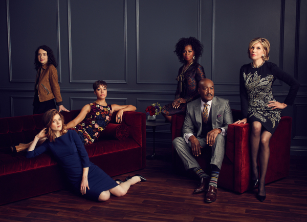 Sarah Steele as Marissa Gold; Rose Leslie as Maia Rindell; Cush Jumbo as Lucca Quinn; Erica Tazel as Barbara Kolstad; Delroy Lindo as Adrian Boseman; Christine Baranski as Diane Lockhart. Photo: Joe Pugliese/CB