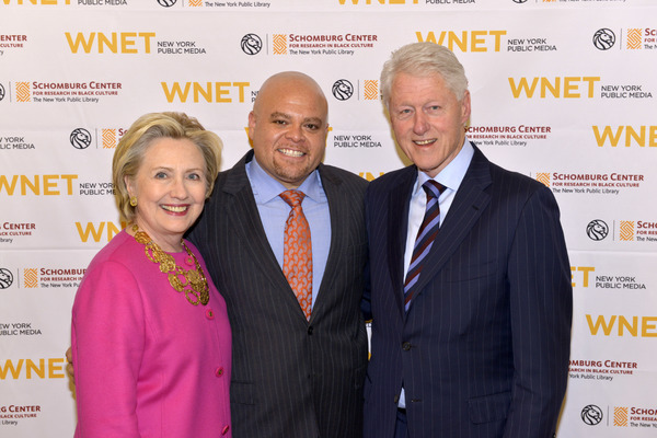 Hillary Clinton and Bill Clinton with Colin Johnson