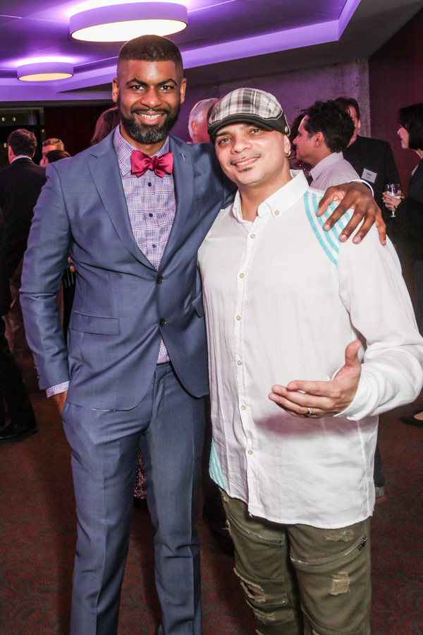 "Flea Theater Artistic Director Niegel Smith and choreographer Gabriel �""Kwikstep"" Dionisio attend NSangou Njikam's World Premiere Syncing Ink on Opening Night, part of the Alley Theatre All New Play Festival. February 8, 2017. Photo by Kim Coffman."