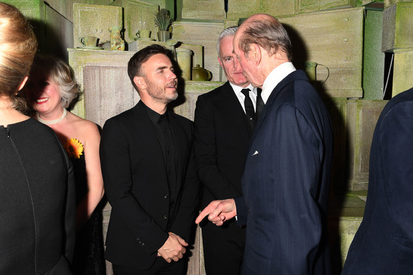 The Duke of Kent meets Gary Barlow and Tim Firth