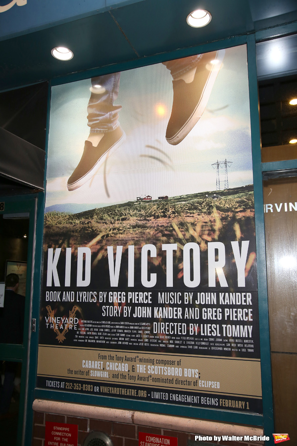 Theatre Marquee for the opening night performance of the Vineyard Theatre's 'Kid Victory' at the Vineyard Theatre on February 22, 2017 in New York City.