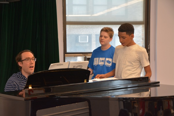 Michael Hopewell rehearses with Zach Anderson and Ezequiel Pujos