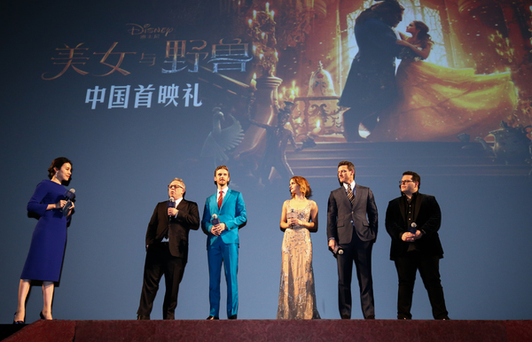 Bill Condon, Dan Stevens, Emma Watson, Luke Evans, Josh Gad, attended the China Premiere of Beauty and the Beast in Shanghai.